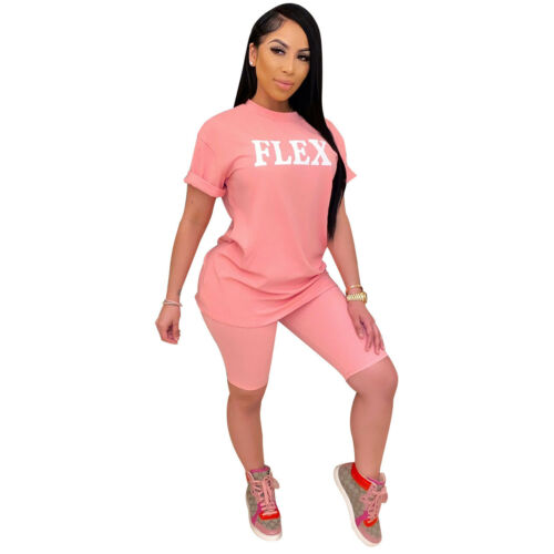 Women Short Sleeves Letter Print Cute Sports Casual Short Pants Set Two Piece
