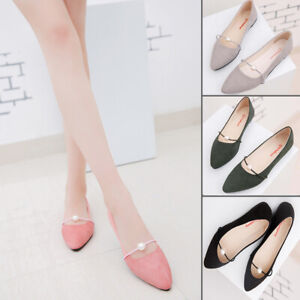 Women-Solid-Color-Suede-Pointed-Toe-Basic-Slip-On-Pearl-Ballet-Shoes-Flats-New