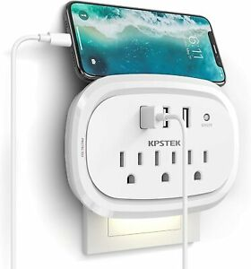 Multi Plug Outlet Wall Charger with 3 USB Ports Portable Travel Adapter Extender