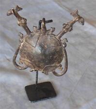"GAN Tribe Burkina Faso bronze 2-headed terrapin pendant amulet 4x4."" stand 6.5"""