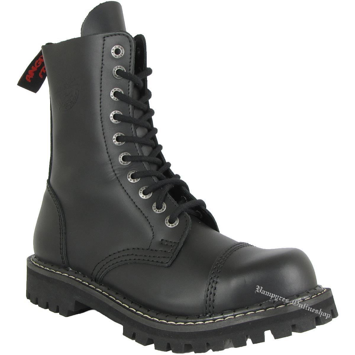 Angry Itch 10-agujero negro rangers botas de cuero acero tapas Boots zapatos Black