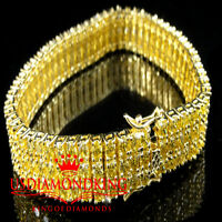 Men's Women's Yellow Gold Finish Canary Lab Diamond 3 Row Bracelet 8.5 Tennis