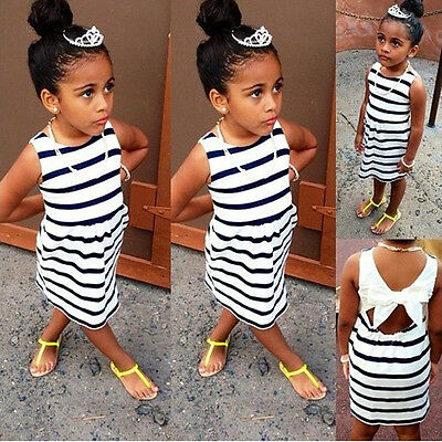 Lovely Kids Baby Girls Striped Bowknot Party Dress Vest Skirt Toddler Clothes US