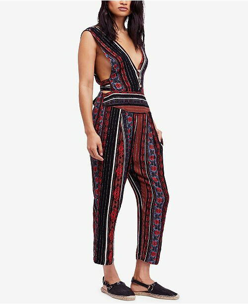 Free People Womens All Shooked Up OB793017 Jumpsuit Indig Combo bluee Size US 4