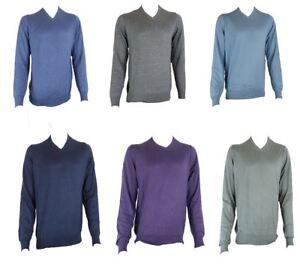Ex-M-amp-S-Marks-And-Spencer-Cotton-Blend-V-Neck-Jumper-Sweater-Pullover