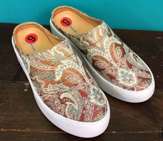 NEW Free People shoes 6 Wynwood Slide Sneakers orange Combo Paisley 37