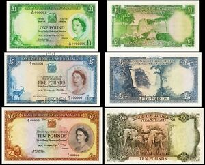 !COPY RHODESIA £1 POUND 1968 £5 POUNDS 10 SHILLINGS 1964 BANKNOTES NOT REAL!