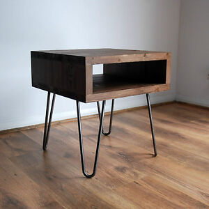 Image Is Loading Vintage Retro Industrial Bedside Table Metal Hairpin Legs