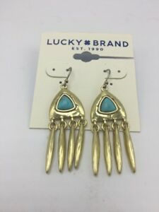 Lucky brand gold tone turquoise stone chandelier earrings b60 image is loading lucky brand gold tone turquoise stone chandelier earrings aloadofball Image collections