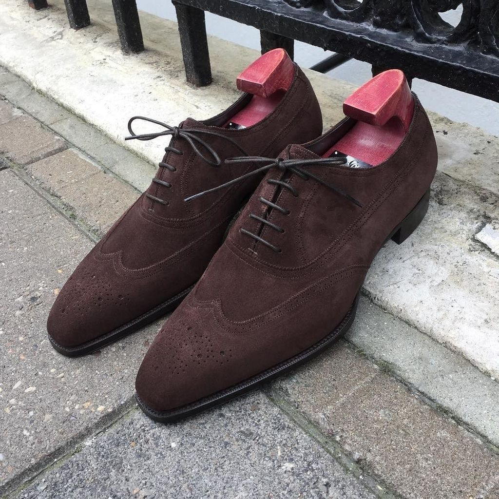 MEN NEW HANDMADE ORIGINAL SUEDE LEATHER OXFORD OXFORD OXFORD BROWN WING TOE FORMAL Schuhe 0d8daa