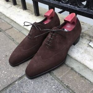 Oxford Leather Handmade Suede Shoes Original Toe Men New Brown Formal Wing aIXqPB