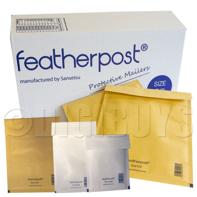 FeatherPost Padded Envelopes Style bubble Mail bags A/000 B/00 C/0 D/1 E/2