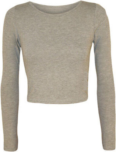 New Womens Crop Basic Long Sleeve T Shirt Ladies Short Plain Round Neck Top 8-14