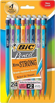 BIC Mechanical Pencil Extra Strong Colorful Barrels Thick Point9 mm 24 Count