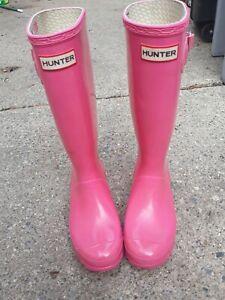 Hunter Girls Pink Rubber Rain Boots