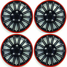 """14"""" Inch Lightening Sports Wheel Cover Trim Set Black With Red Ring Rims (4Pcs)"""