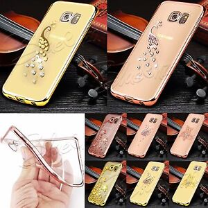 For-Samsung-Galaxy-Phones-Bling-Chrome-Clear-Gel-Case-Cover-Screen-Protector