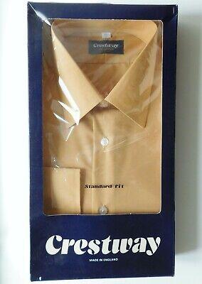 Crestway Long Sleeved Mens Shirt Vintage 1980s Collar Size 17 Unused Khaki Beige Merci Di Convenienza