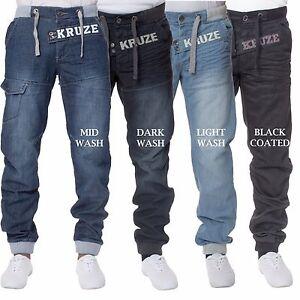 Kruze-Mens-Cuffed-Jeans-Regular-Fit-Jogger-Denim-Pants-Trousers-All-Waist-Sizes