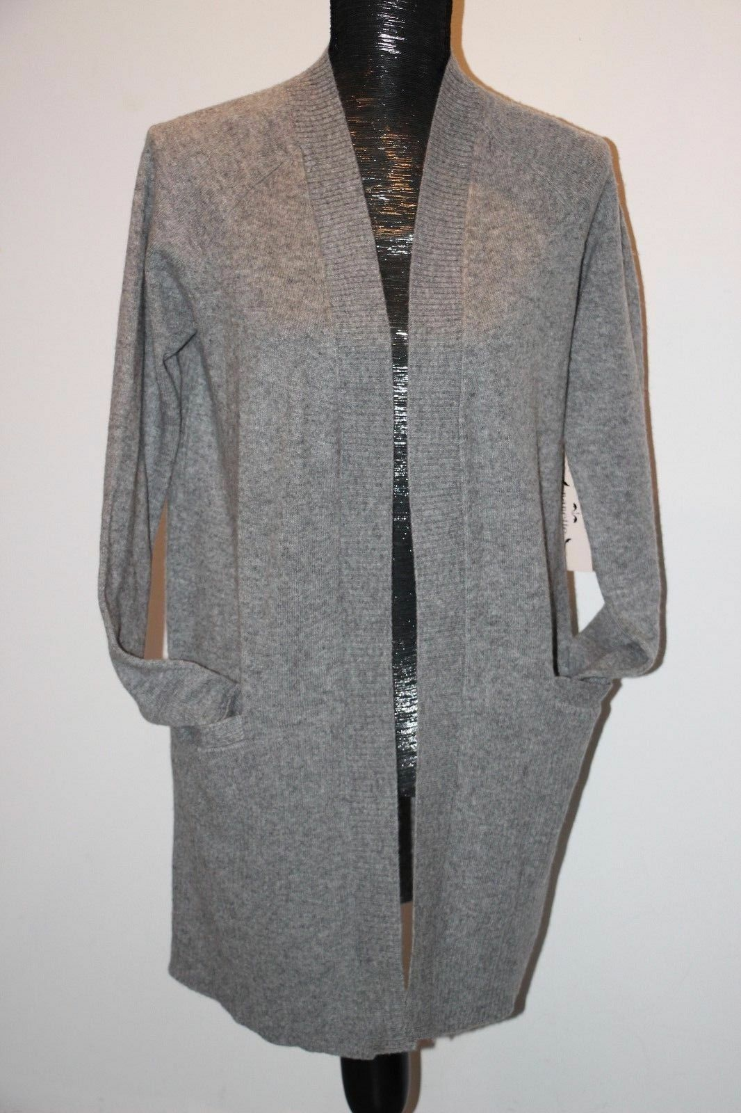 Nanette Lepore Luxury 2-ply Cashmere Ribbed Panels Knit Cardigan Sweater S, M
