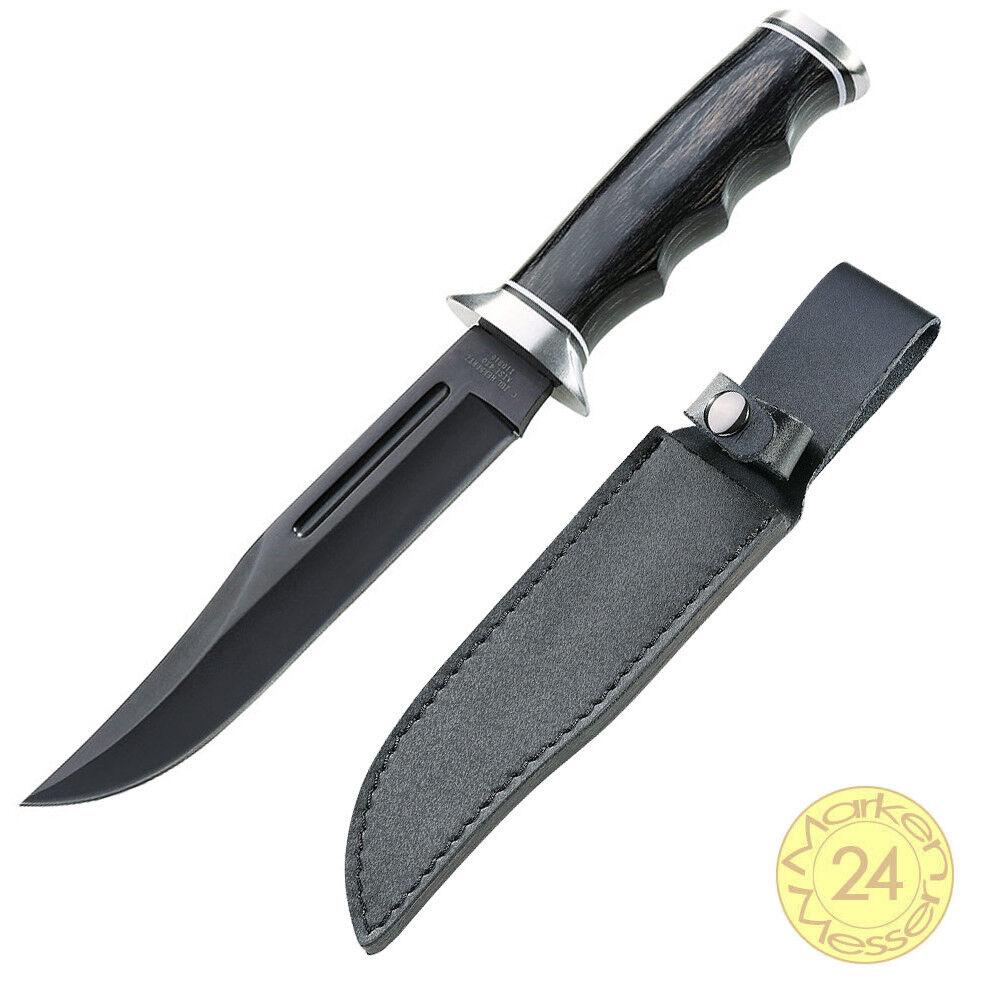 Bowie couteau de chasse avec lame noire chasseur chasseur chasseur couteau F. Outdoor Forêt Cuir Fourreau 5f533b