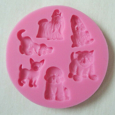 Cartoon Dogs Animal Fondant Cake Decorating Candy Cutter 3D Silicone Mold Tools