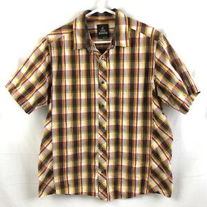 Prana-Pearl-Snap-Shirt-Mens-Size-Medium-Brown-Plaid-Short-Sleeve-Organic-Cotton