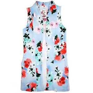 Neuf-Filles-Bleu-Floral-Rose-Chiffon-Cardigan-Manteau-Age-7-8-9-10-11-12-13