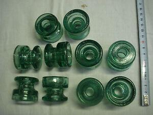 Isolateurs-anciens-en-verre-vert-clair-lot-de-10-diametre-42-mm-SEDIVER-France