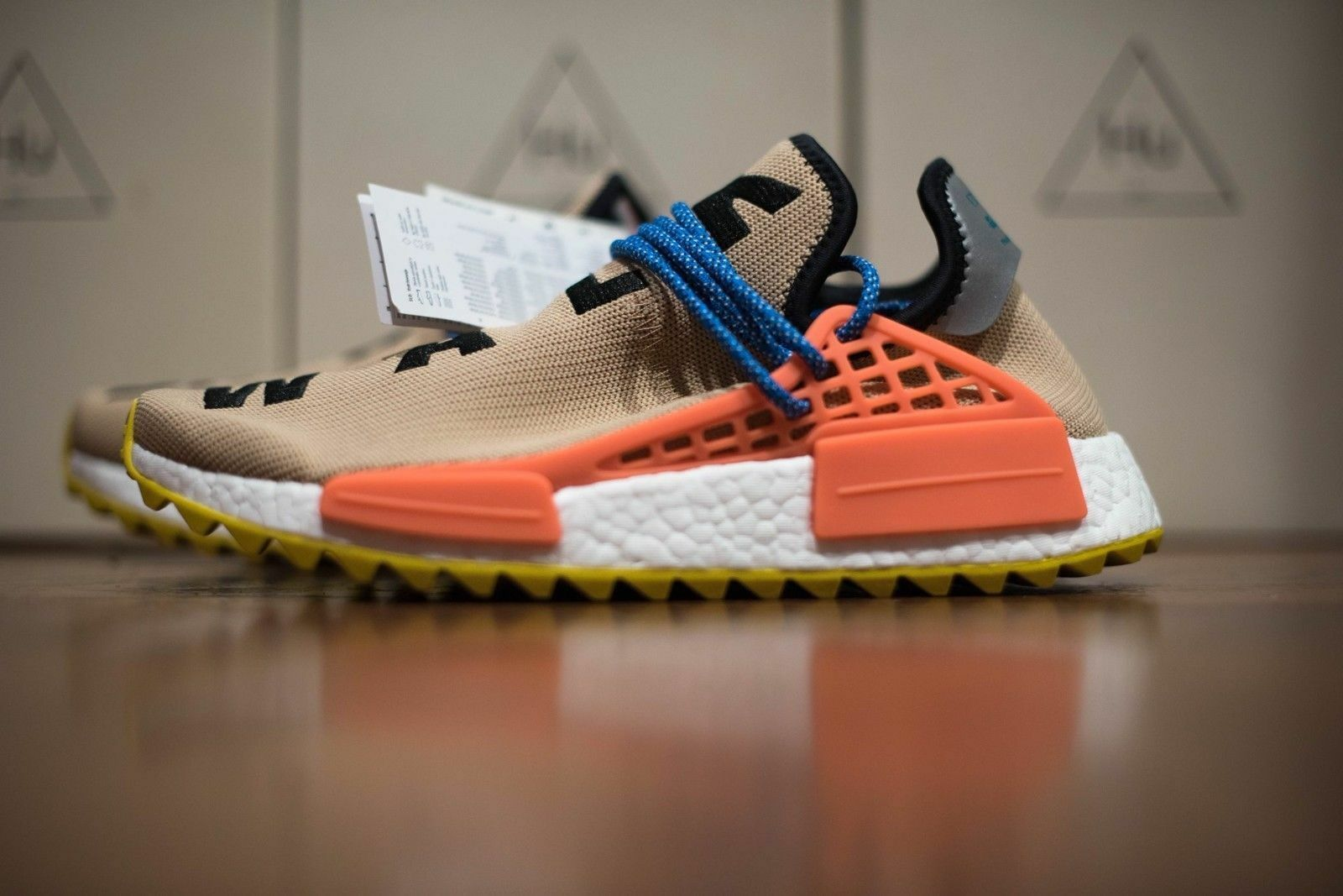 Adidas x pharrell williams hu nmd tr pale nude on foot look
