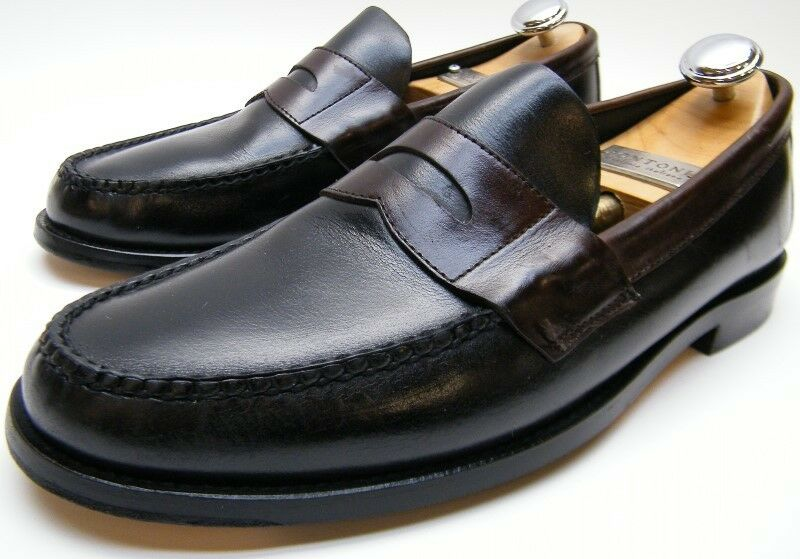 MENS SEBAGO BROWN BLACK PINCH LEATHER PENNY LOAFER CASUAL DRESS SHOES 9.51 2 M