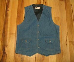 Vintage-Levi-039-s-Panatela-Sportswear-Blue-Denim-Lined-Button-Up-Vest-Mens-Medium