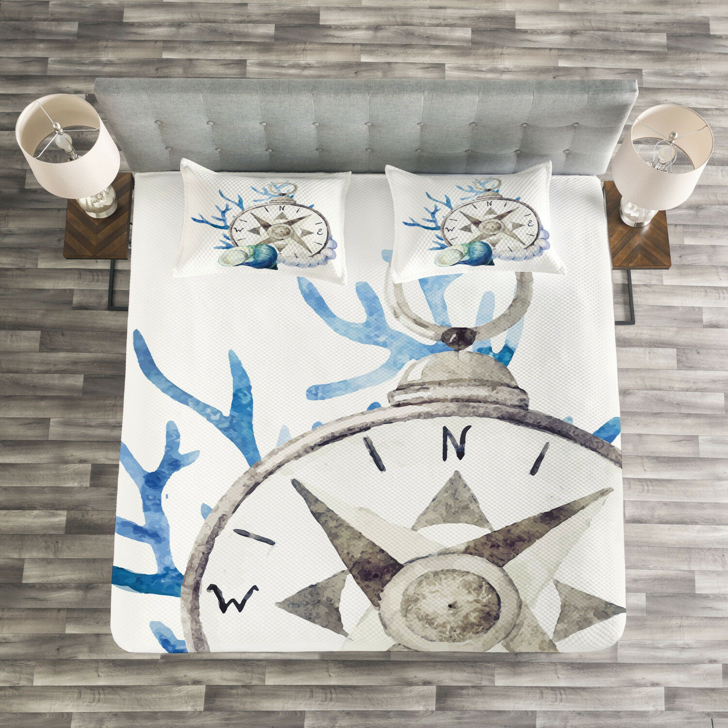 Compass Quilted Bedspread & Pillow Shams Set, WaterFarbe Nautical Print