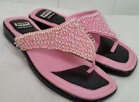 Jamie Sadock pink beaded thong flip flop sandals womens size 6.5 M