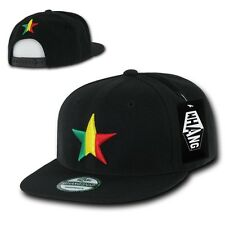 Black Rasta Fashion Dallas Star Flat Bill Snapback Hip-Hop Baseball Cap Hat