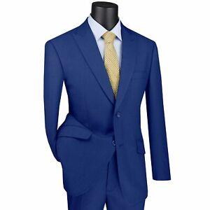 VINCI Men/'s Blue 2 Button Peak Lapel Modern Fit Business Suit NEW