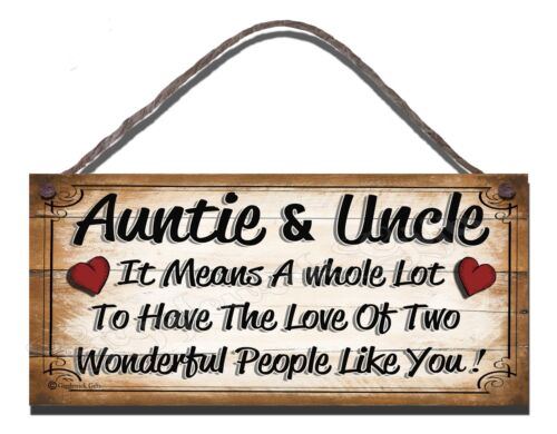 FUNNY WOODEN SIGN AUNTIE AND UNCLE IT MEANS A WHOLE LOT GIFT PRESENT