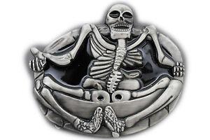 Homme Femme Argent Boucle Ceinture Crâne de Squelette Grand Ovale ... 048c67ed51c