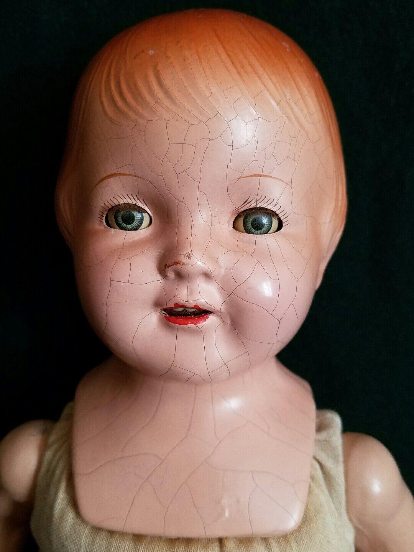 Muñeca Antigua Composición marcado Bebé Dormir los ojos fabricante de ruido Dientes Boca Abierta