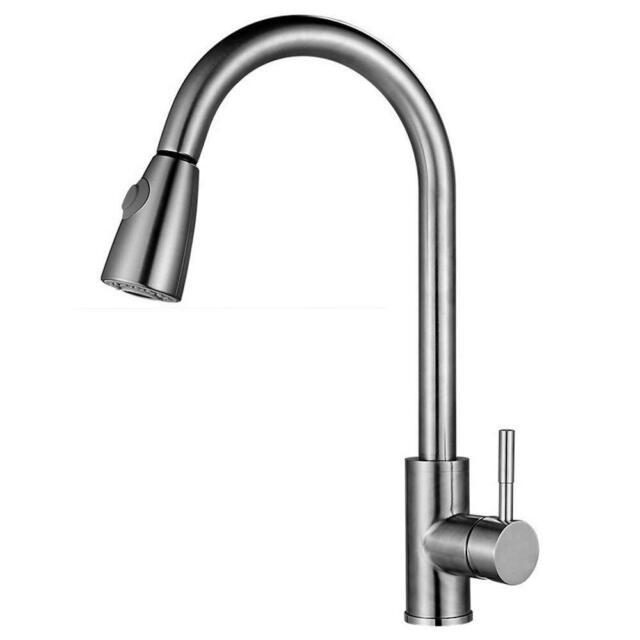 Swivel Brushed Nickel Kitchen Faucet Pull Out Sprayer Sink Mixer Tap Deck Mount