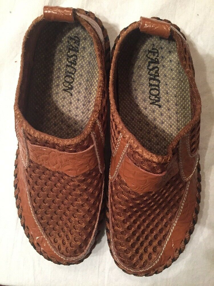 fashion mesh 2817 shoes comfort Knit mesh fashion for men Light Breathable New Brown Size 7 a1929a