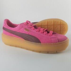 new styles b2d5b 3b7c9 Details about Puma Suede Platform Trace Block Shoes Women's Size 9.5 Pink  Gum bottom 367057-02
