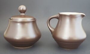 Noritake-Folkstone-Equator-Sugar-Creamer-Set-Brown-Made-in-Japan-Stoneware