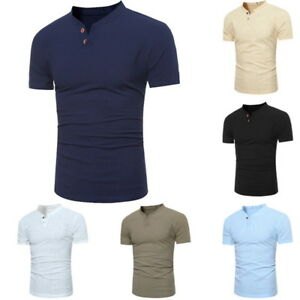 Summer-Mens-Casual-Classic-Button-Henley-Shirt-Short-Sleeve-V-Neck-Slim-T-shirts