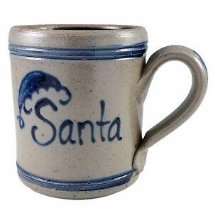 Rowe Pottery Works Santa Mug Christmas Coffee Cup Salt Glazed Stoneware Vintage