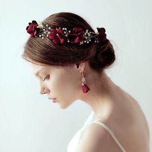 Details about Wedding Bridal Flower Crown Hair Accessories Red Rose Tiara  Earrings Jewelry Set fb27cf4c2da
