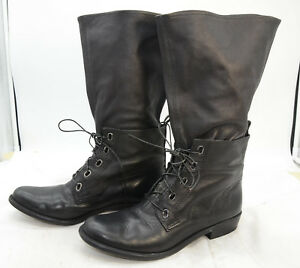 7e012309c0b60 Details about 7 for All Mankind Womens Sz 9 Laced Mid-Calf Boho Leather  Black Riding Boots