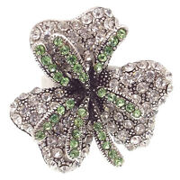 Flower Floral Finger Cocktail Ring Crystal Jewelry Green Clear Repro VTG Design