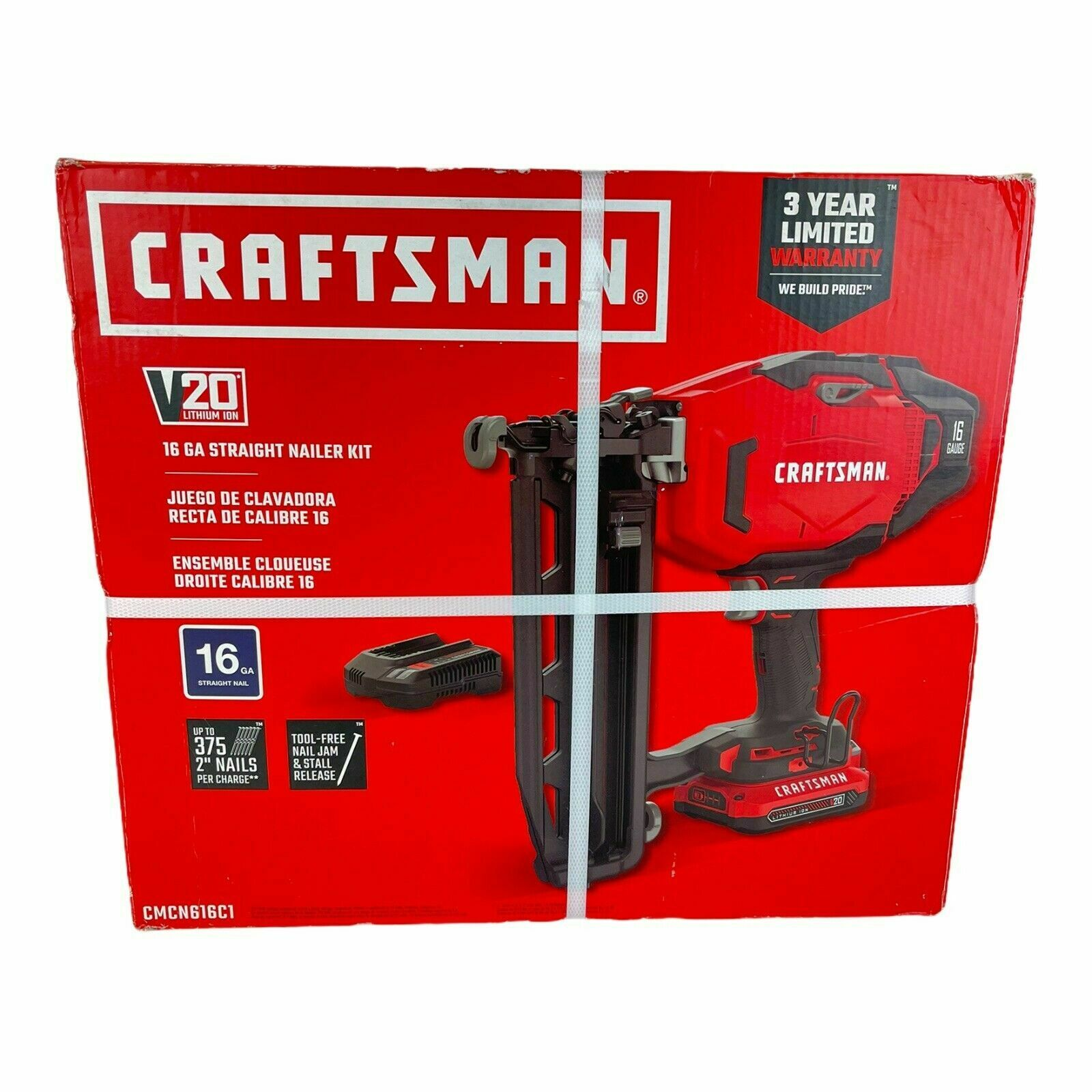 CRAFTSMAN V20 16-Gauge 20-Volt Max Cordless Finish Nailer NEW. Available Now for 199.00