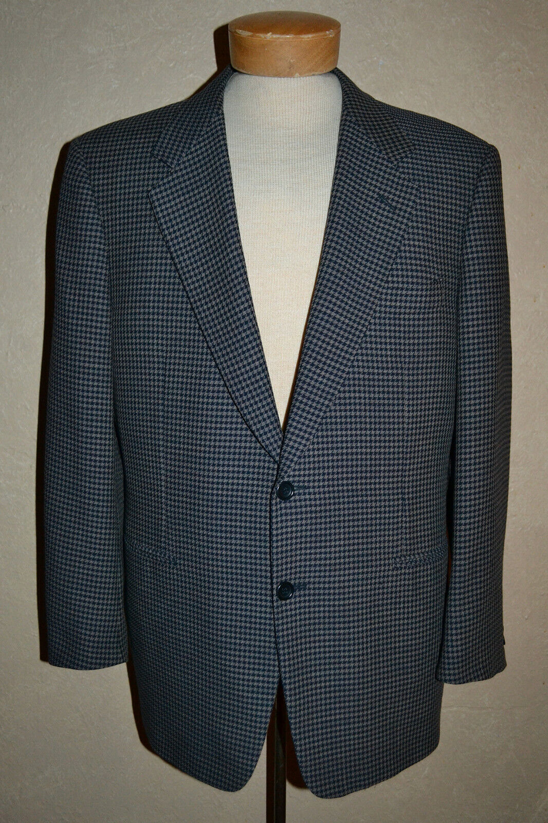 Canali for Bloomingdales 40R 50R Navy & Khaki Wool Houndstooth Sport Coat